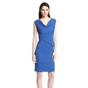 NWT Nine West blue cowl neck sheath midi dress 8